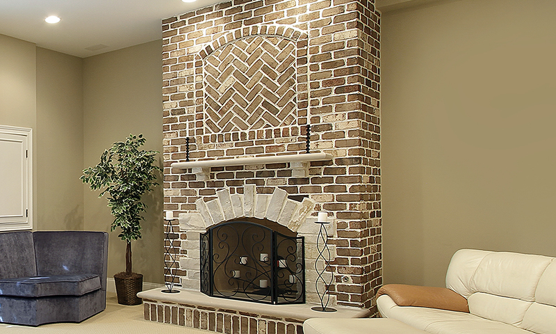 Interior Limestone Fireplace Accent Pieces With Brick