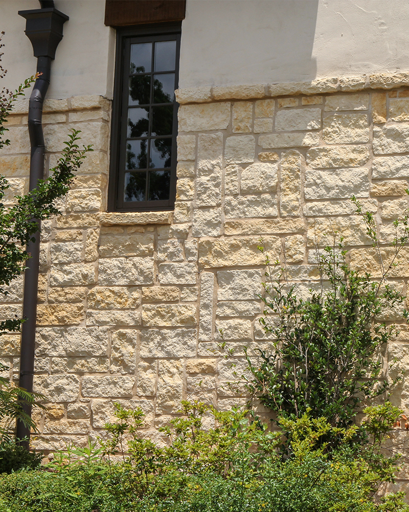 Gold and Creme Splitface Limestone Veneer
