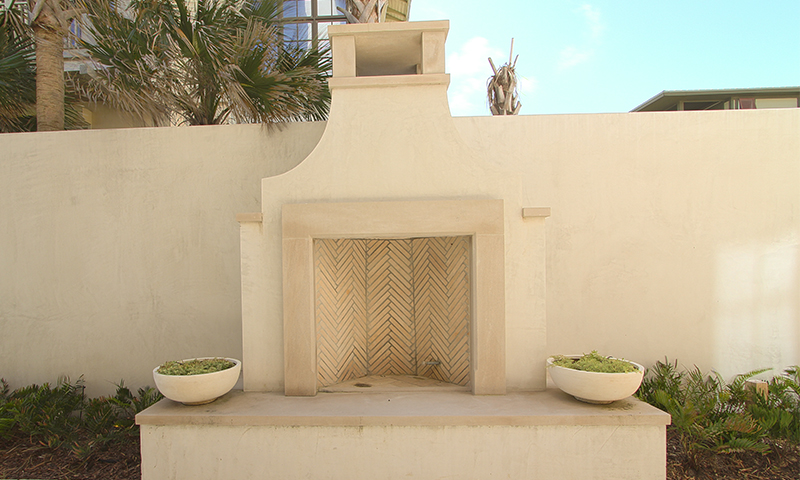 Outdoor Indiana Limestone Fireplace and Cap