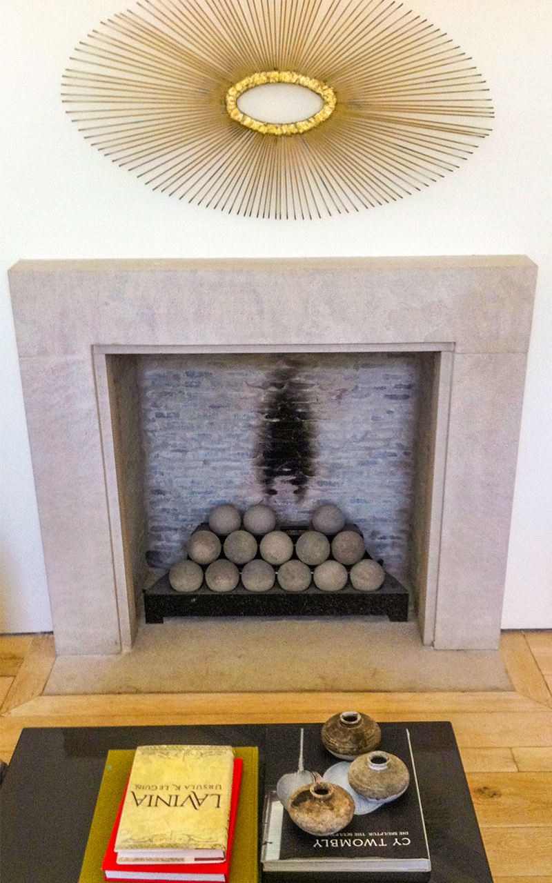 Indiana Limestone Fireplace with Fireballs