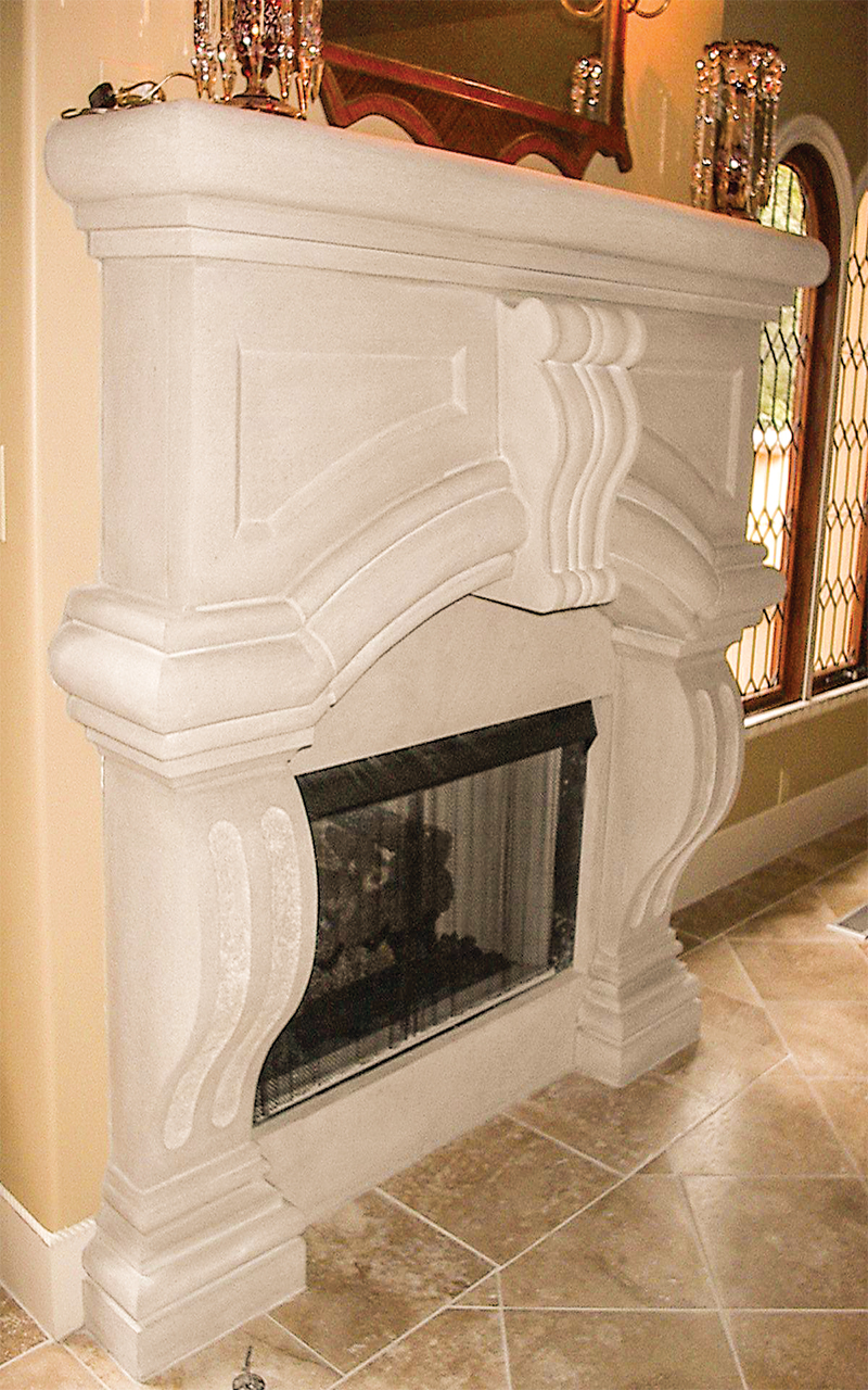 Limestone Fireplace with a Keystone
