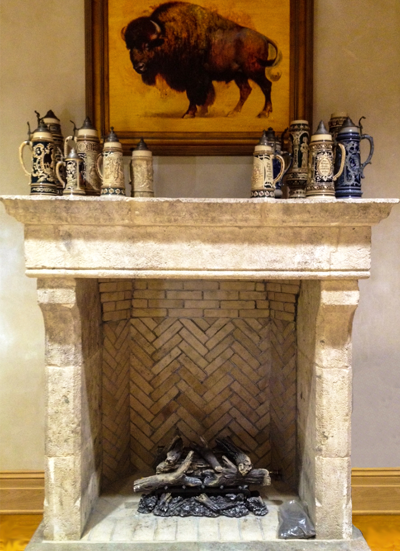 Reclaimed Limestone Fireplace Surround