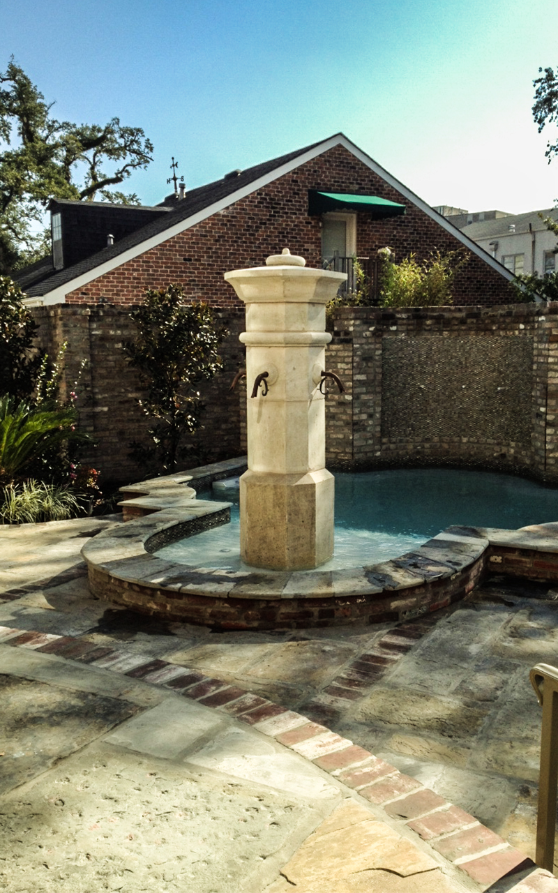 Sandblasted Beignet Limestone Fountain
