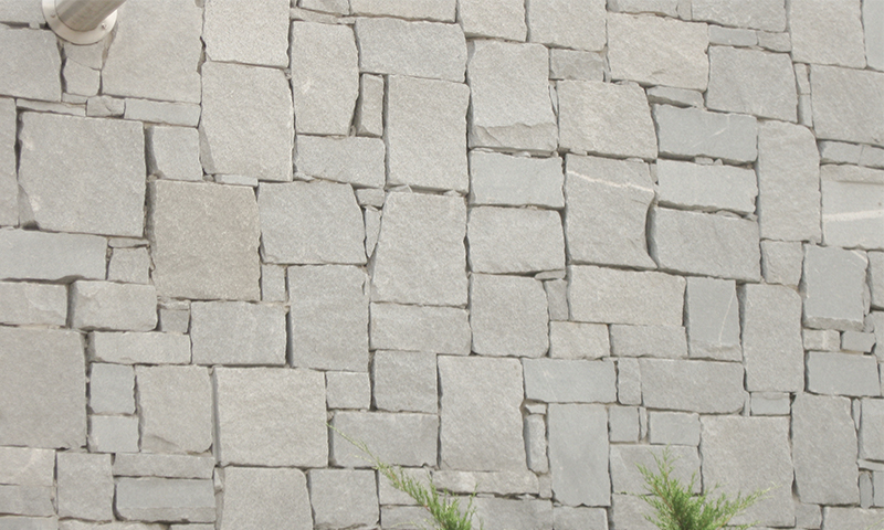 Salt and Pepper Granite Rubble Laid in a Random Dry Stack Pattern