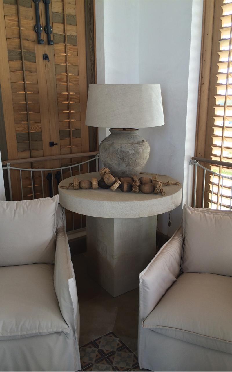 Heavy Sandblasted Indiana Limestone End Table