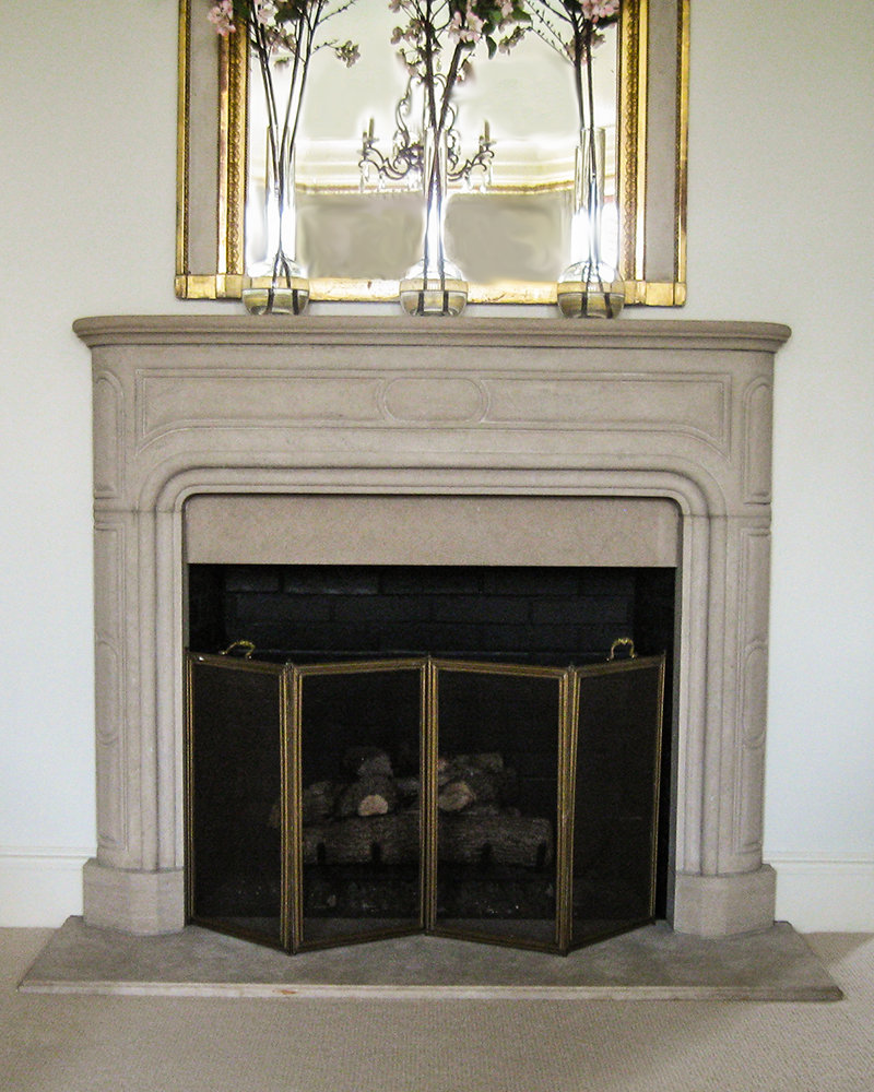 Indiana Limestone Fireplace Mantle with Mirror