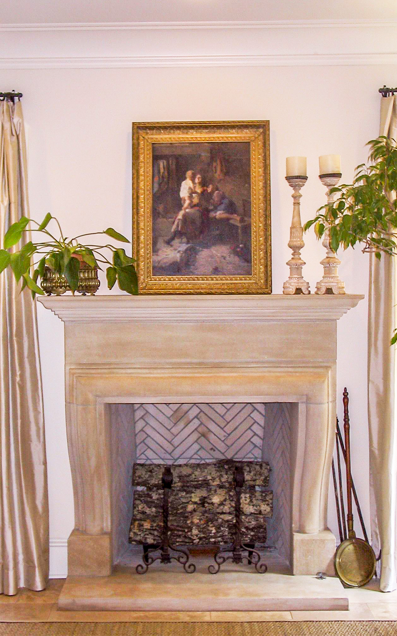 100% Acid Washed Indiana Limestone Fireplace