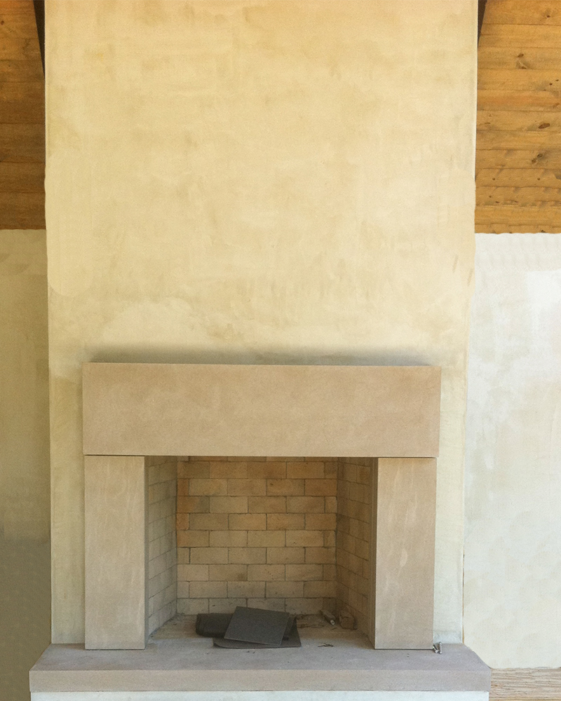 Acid Washed Indiana Limestone Fireplace Surround