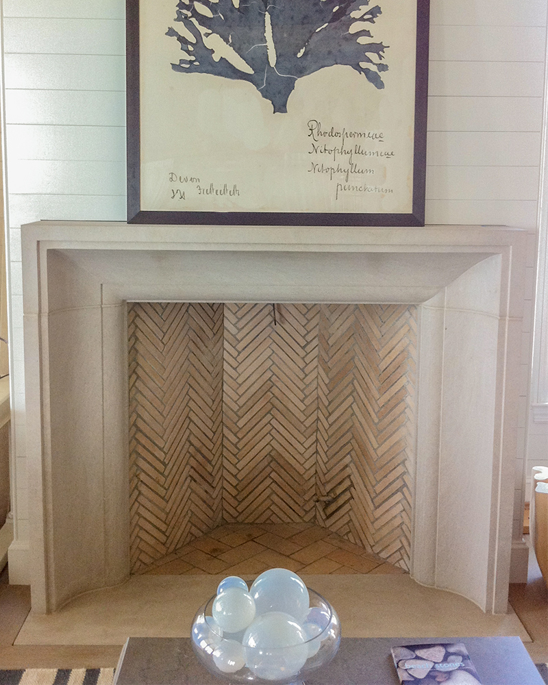 Limestone Fireplace Surround In A Beach Home