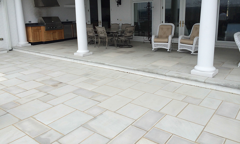 Inside Sawn Blue Grey Sandstone Flooring Laid in a 6in Multiple Pattern With Bullnosed 12in Wide Border