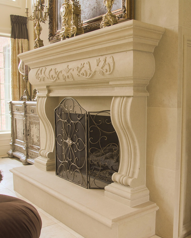 Moscato Creme Limestone Fireplace Surround