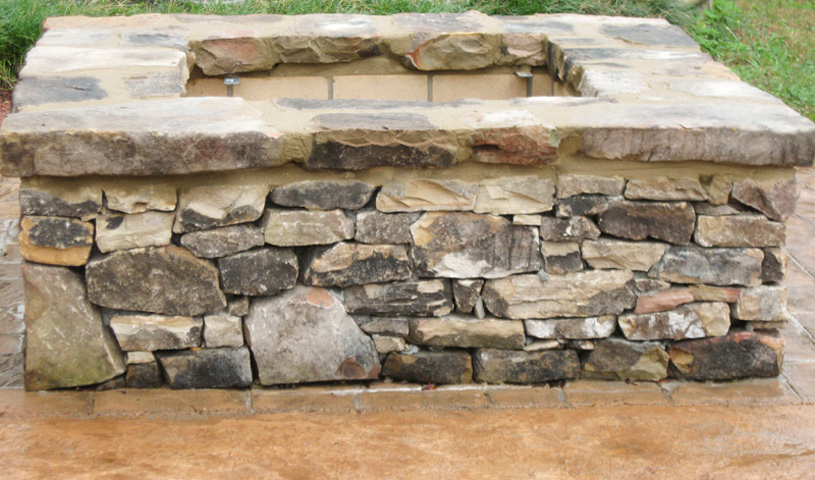 3in Moss Rock Cap (Fieldstone) on Square Fire Pit