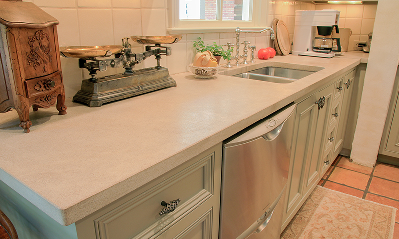 Waxed Limestone Countertops in Kitchen