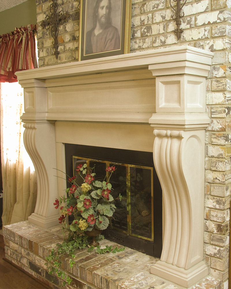 Custom Carbed Indiana Limestone Fireplace Mantel