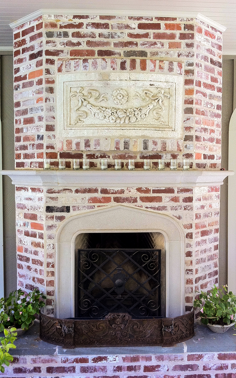 Outdoor Fireplace Surround with Brick