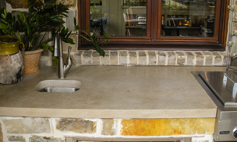 Indiana Limestone Countertops at Outdoor Kitchen