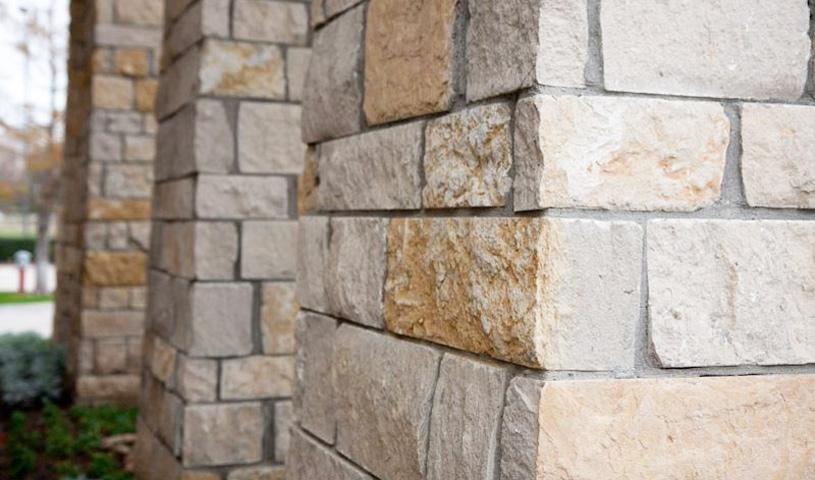 Moscato Creme Splitface Limestone Veneer with Roughbacks