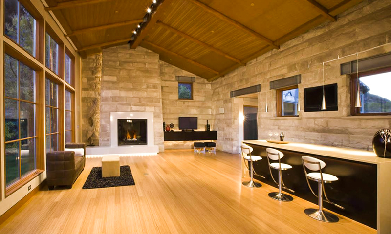 Splitfaced Indiana Limesone Interior Limestone Fireplace and Wall Cladding