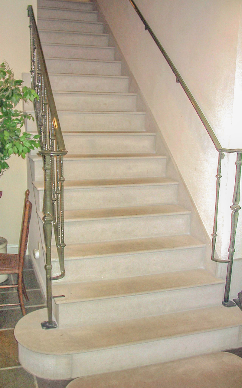 Bullnosed Indiana Limestone Interior Step Treads and Risers