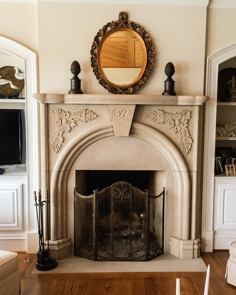 Acid Washed Indiana Limestone Fireplace