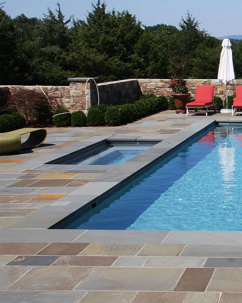 Full Color Range Natural Cleft Pennsylvania Bluestone Pool Deck with Thermal Finish Pennsylvania Bluestone Pool Coping