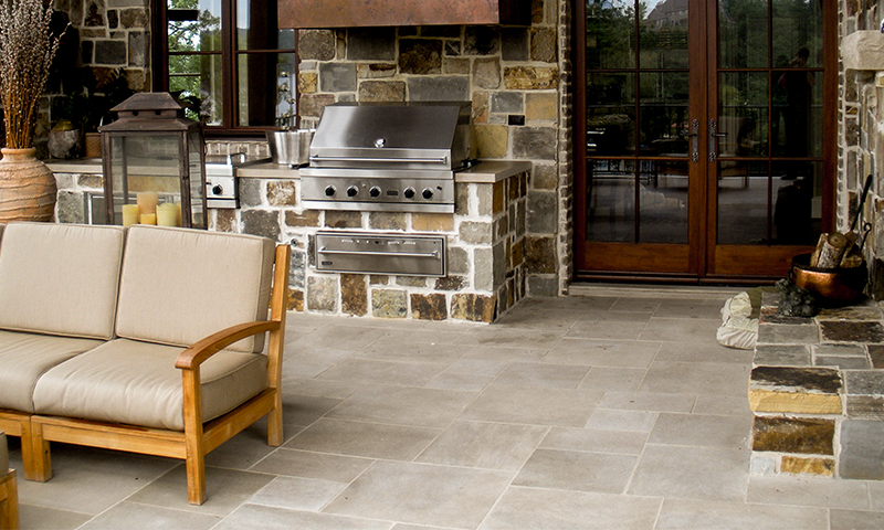 Indiana Limestone Flooring Laid In A 6In Multiple Pattern with Blue Grey Squared Random Ashlar Veneer