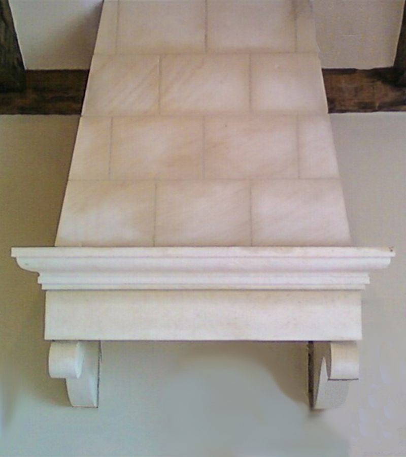 Beignet Limestone Kitchen Hood with a Sandblasted Finish