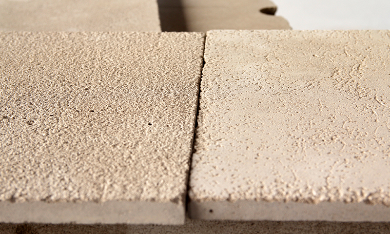 (Left) Heavy Bushammer Vs. (Right) Light Bushammer Finished Indiana Limestone
